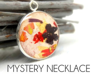 Mystery  real flower necklace, real flower jewellery, surprise handmade gift box, surprise jewellery