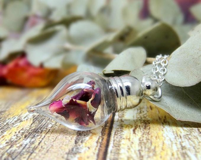 Dark Pink Carnation necklace