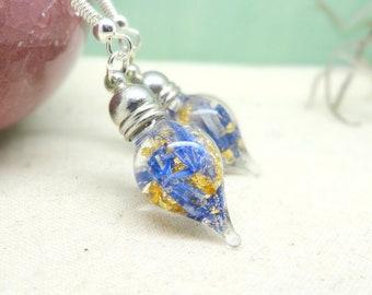 Real flower earrings, blue cornflower earrings, unique bridal jewellery, real flower jewelry