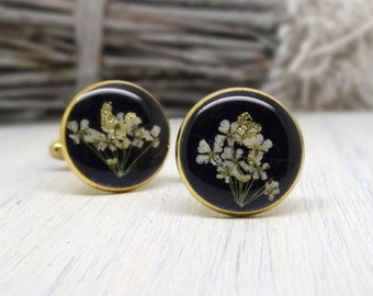 Real flower cufflinks, preserved flower cuff-links, Fathers Day Gift, botanical gift for him