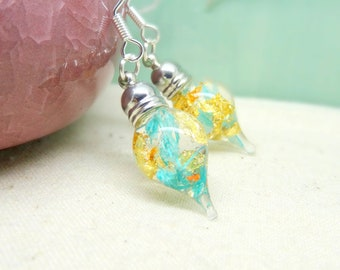 Blue earrings, real flower earrings, real flower jewellery, teardrop earrings, wedding jewellery