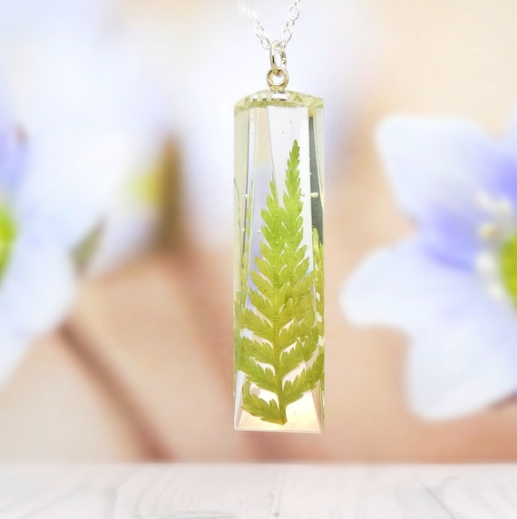 Fern necklace, real flower necklace, handmade resin jewellery, real pressed flower jewelry, botanical gift for her