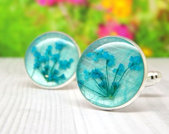 Real flower cufflinks, valentines day gift for him, mens valentines day gifts, Pressed Flower cufflinks, Fathers Day Gift, gifts for him