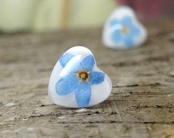 Forget me Nots Earrings, Real Flower Earrings, Something Blue, Floral Jewelry, Pressed Flower Earrings, Nature Jewelry, Resin Earrings