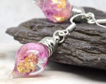 Real flower earrings, purple orchid earrings, teardrop earrings, unique wedding jewellery