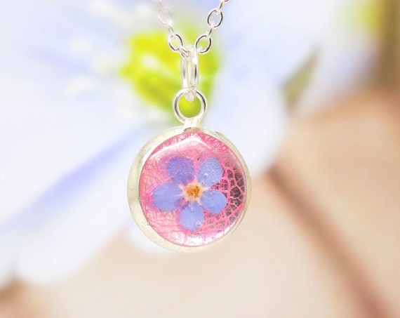 Forget me not  necklace, real flower necklace, unique gift for her, terrarium necklace, real flower jewelry