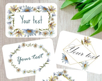 Personalized note cards set, Set of 8 note cards, Scrapbooking, Floral stationery, Handmade snail mail cards, recycled card, custom text