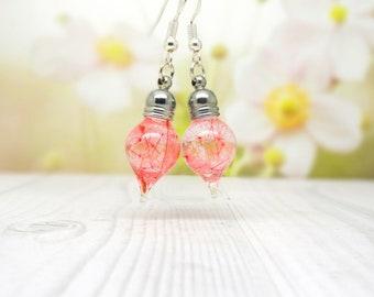 Pink dandelion earrings, real flower earrings, valentine gift ideas, real pressed flower jewellery, botanical gifts, make a wish
