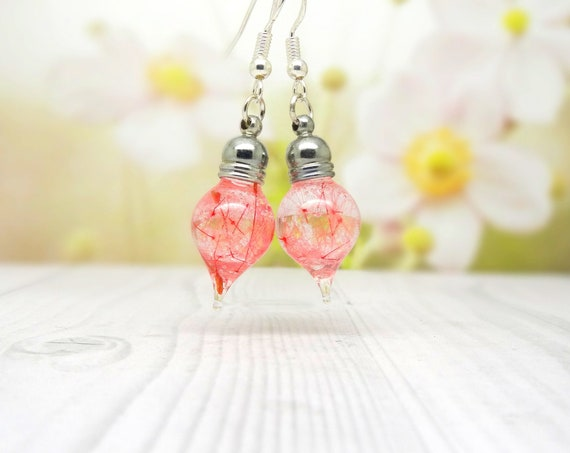 Pink dandelion earrings, real flower earrings, valentine gift ideas, real pressed flower jewellery, botanical gifts, make a wish