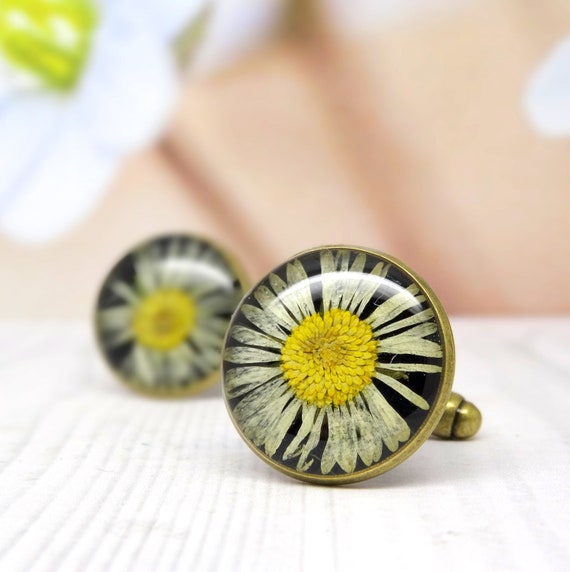 Pressed flower cufflinks, valentines day gift for him, real flower cufflinks, mens valentines day gifts, tie accessories, gifts for him