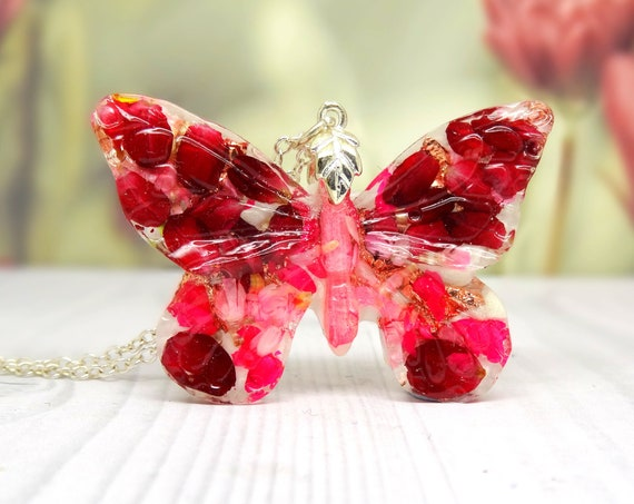 Butterfly necklace with real flowers, real flower necklace, handmade real flower jewellery, red rose butterfly pendant, unique gif ideas