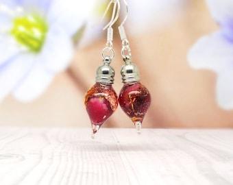 Red rose earrings, real flower earrings, real flower jewellery, teardrop earrings, red girlfriend gift, valentine gift ideas, unique jewelry
