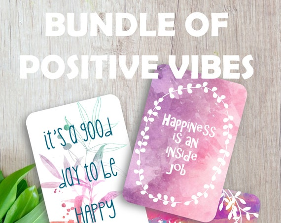 Bundle of 16 positive cards, Positive thoughts set,  Inspirational quote cards, Scrapbooking, Junk journal, Happy mail, Floral note cards
