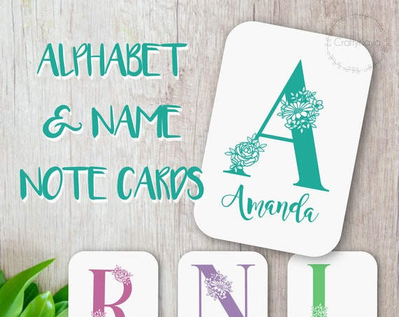 Personalised name cards, Initial note cards, Monogram cards, Scrapbooking Cards, Floral baby shower card, personalised baby cards