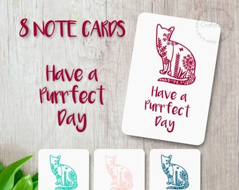 Set of 8 Cat note-cards, Cat Birthday Card, Birthday Cat Lover Cards, Birthday Card Funny, Crazy cat lady, Floral stationery, happy mail