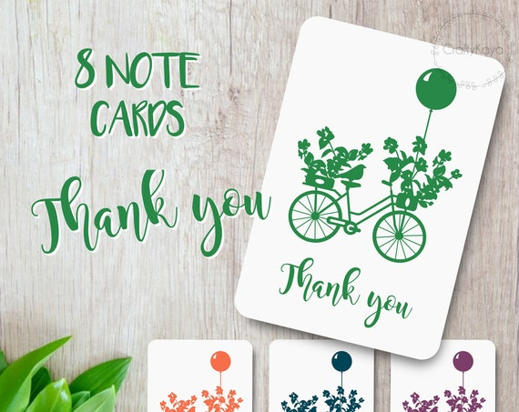 Set of 8 thank you cards, Scrapbooking Cards, Bicycle thank you cards, Floral stationery, Handmade happy mail cards, recycled card