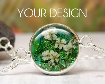 Real flower bracelet, personalised jewellery, handmade bespoke bracelet, real flower jewellery, design your own, unique personalized gift
