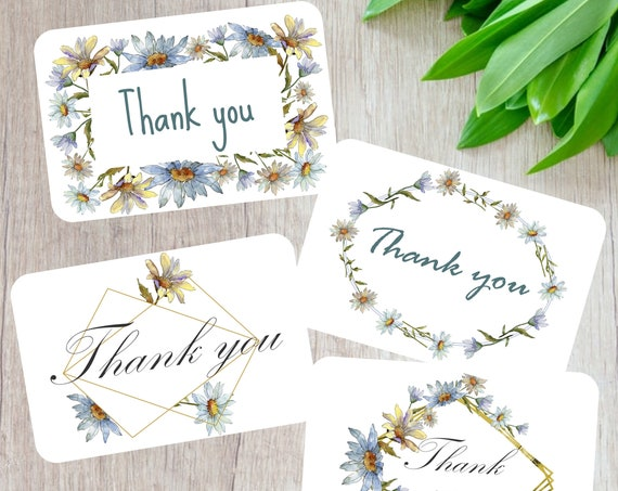 Daisy note cards set, Set of 8 thank you cards, Scrapbooking Cards, Floral stationery, Handmade snail mail cards, recycled card