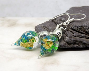 Real flower earrings, blue and green earrings, real flower jewelry, unique gift for her