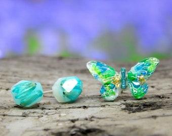 Real flower earrings - set of 3 stud earrings, real flower earrings, floral jewellery, mismatched earrings, pressed flowers, unique gifts