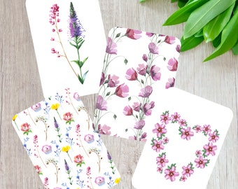 Wildflowers note cards set, Set of 8 notecards, Scrapbooking Cards, Floral stationery, Handmade junk mail cards, recycled card