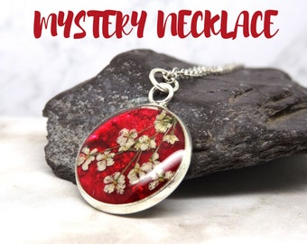 Mystery necklace, real flower necklace, pressed flower jewellery, Mystery Box, Nature inspired jewellery, handmade in UK, eco friendly