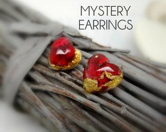 Mystery real flower earrings, heart studs, real flower jewelry, surprise handmade gift, surprise jewellery, sterling silver stud earrings
