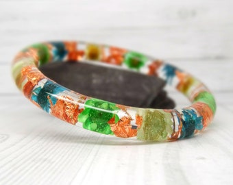 Real flower bangle, real flower bracelet, Daisy real flower jewellery, resin jewelry, pressed flowers bangle bracelet