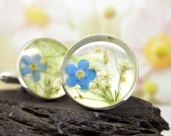 Forget me not cufflinks, valentines day gift for him, real flower cufflinks, mens valentines day gifts, Fathers Day Gift, gifts for him