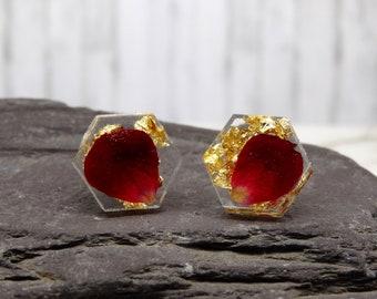 Real flower earrings on sterling silver studs, real flower jewelry, hexagon shape earrings, minimalist geometric studs