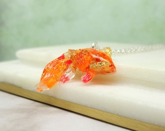 Fish necklace, real flower necklace, handmade good luck necklace, real flower jewelry, unique gift for her