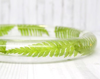 Real flower bangle, real flower bracelet, fern real flower jewellery, unique statement resin jewelry, bangle bracelet