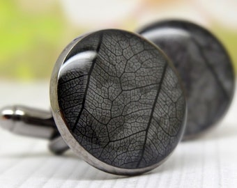 Real leaf cuff-links, husband gifts, boyfriend gifts, Fathers Day Gift, dad gifts, botanical gift for him, real flower jewellery