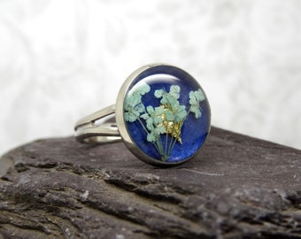 Real flower ring, unique adjustable ring, handmade real flower jewellery, resin jewellery, unique gift for her