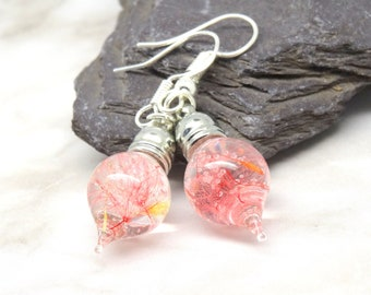 Pink dandelion earrings, real flower earrings, real flower jewelry, pressed flower jewelry,  botanical gifts, make a wish