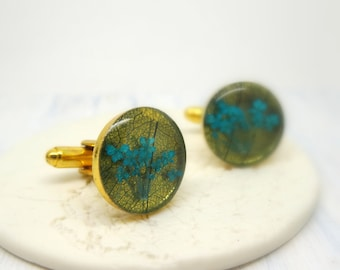 Real flower cuff links, Fathers Day Gift, botanical gift for him, unique gifts