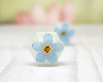 Forget me not earrings, real flower jewelry, pressed flowers jewellery, blue wedding earrings, something blue, petal jewellery