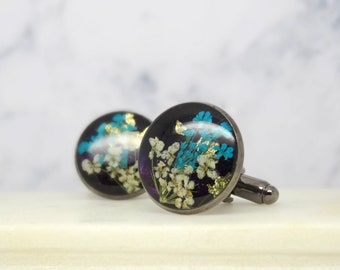 Real flower cuff links, Valentine's gift for him, preserved flower cuff links, botanical gift for him