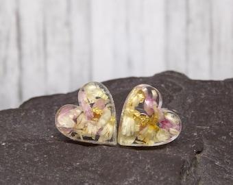 Real flower earrings on sterling silver studs, heart shape earrings, handmade real flower jewelry, unique gifts