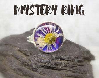 Mystery ring, real flower ring, real flower jewellery, surprise handmade gift, surprise gift box, pressed flower jewelry, personalized gift