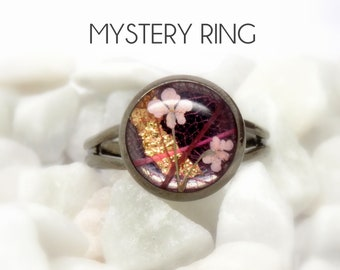 Mystery ring, real flower ring, real flower jewellery, surprise handmade gift, surprise gift box