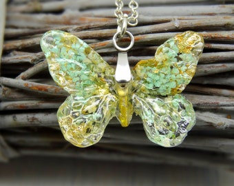 Butterfly necklace with real flowers, handmade real flower jewelry, butterfly pendant, sterling silver necklace