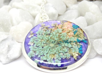 Real flower necklace, nature jewellery, resin necklace, flower jewellery, flower necklace, mum gift, valentines necklace, boho jewelry