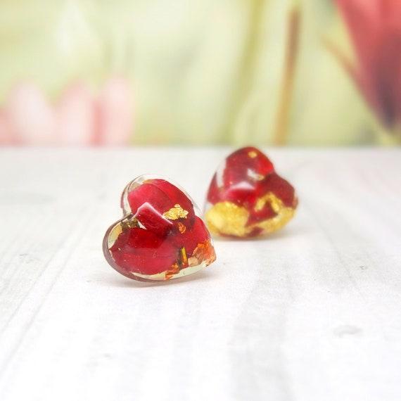 Rose earrings, real flower earrings,  handmade heart earrings, real flower jewelry, geometric jewelry, botanical gifts, pressed flowers