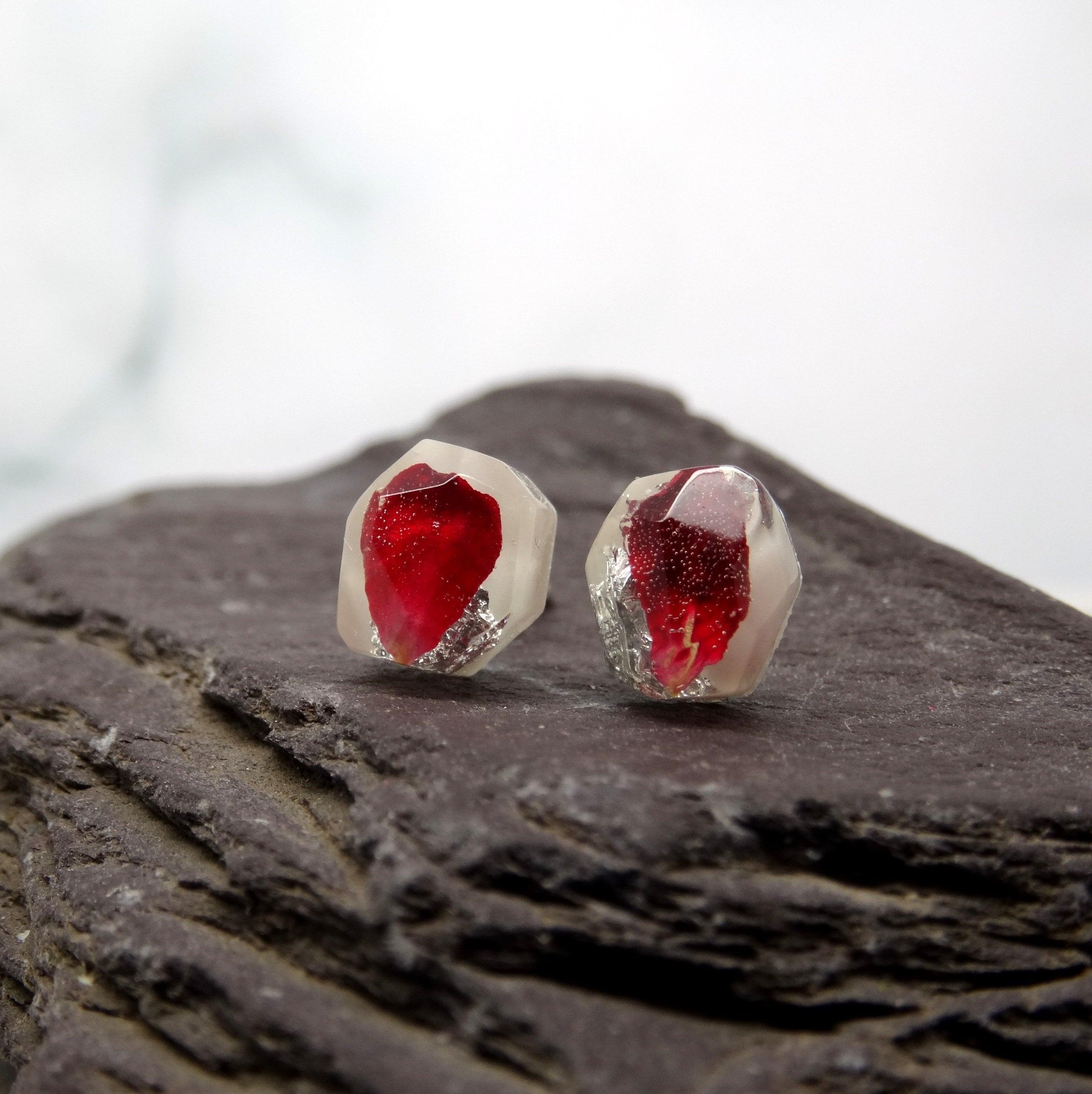 0692f80098b77f Real flower earrings, rose earrings, botanical handmade silver ...