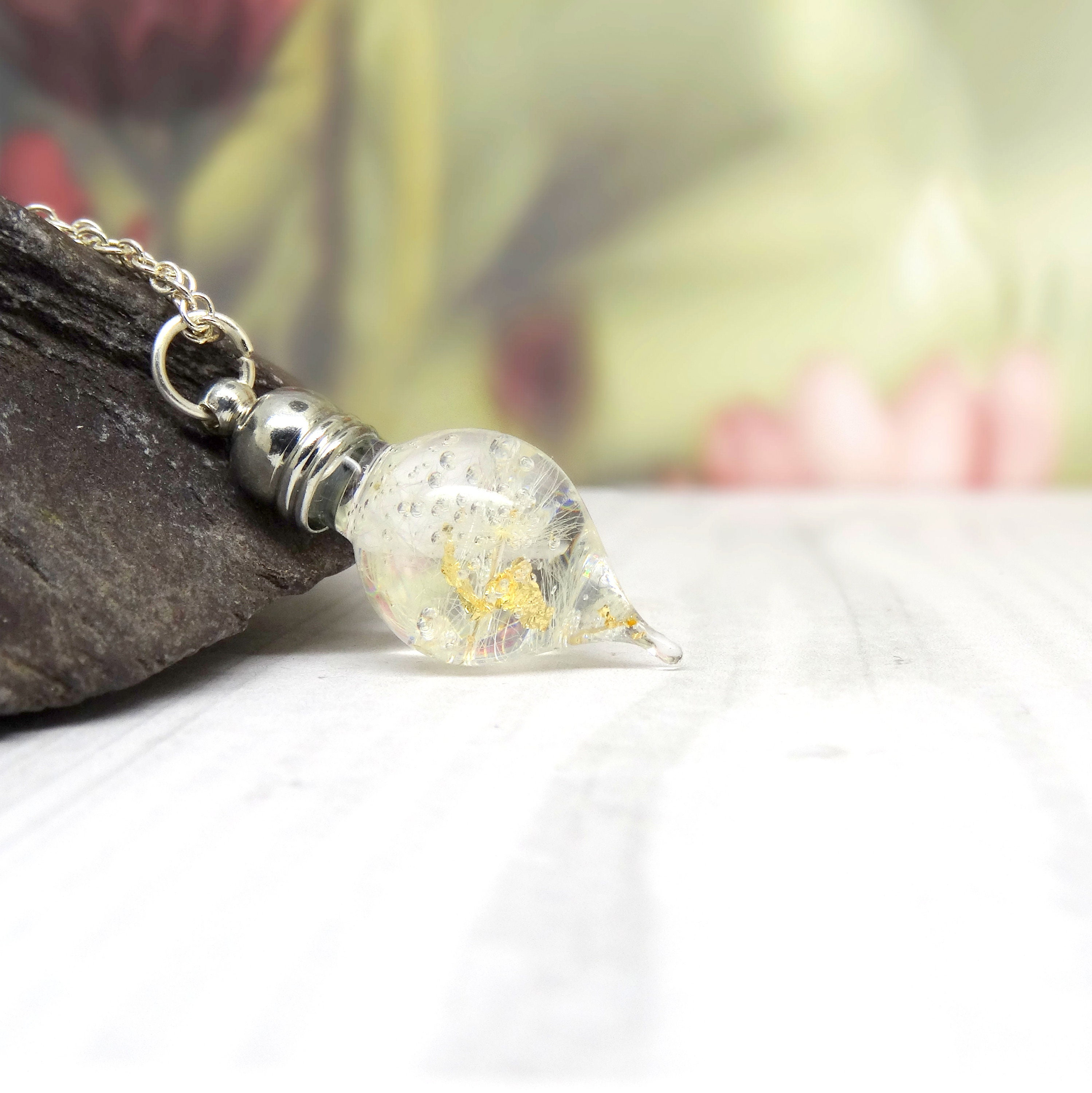 Dandelion Necklace With 24k Gold Leaf Real Flower Necklace Handmade Gift For Her Terrarium Necklace Make A Wish Dandelion Jewelry