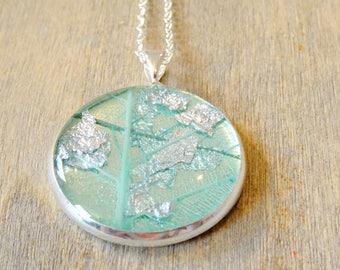 Real flower necklace with skeleton leaf and sterling silver flakes, nature jewellery, resin jewellery, flower jewellery, botanical, handmade