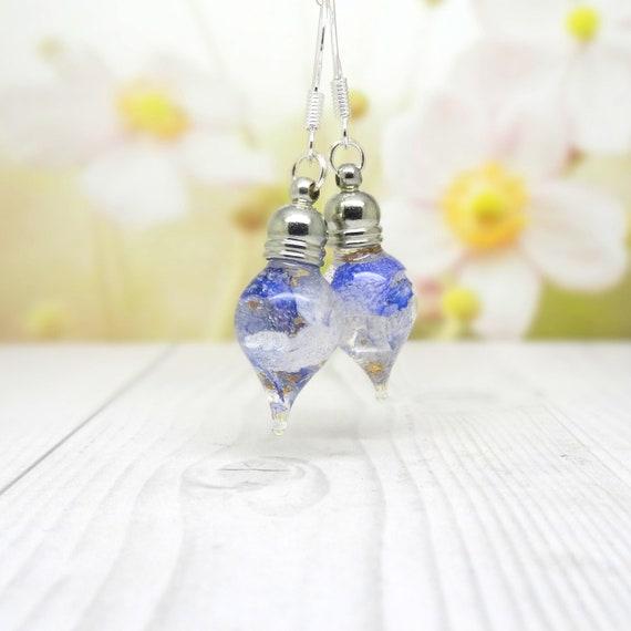 Blue orchid earrings, real flower earrings, real flower jewellery, real orchid jewelry, teardrop dangle earrings,  valentine gift ideas