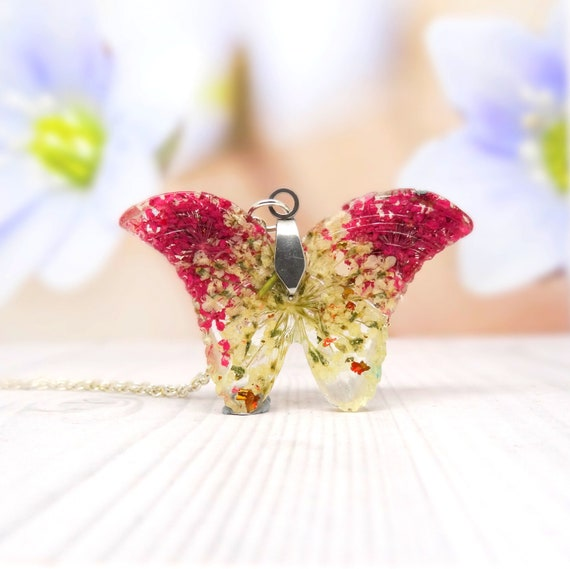 Butterfly necklace, real flower necklace, handmade real flower jewellery, butterfly pendant, unique gift for her