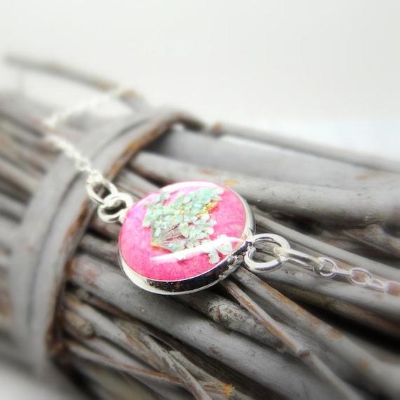 Real flower bracelet, real flower jewellery, handmade gift for her, personalised gift